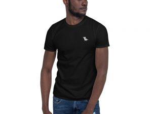 Embroidered surveillance pigeon tshirt black