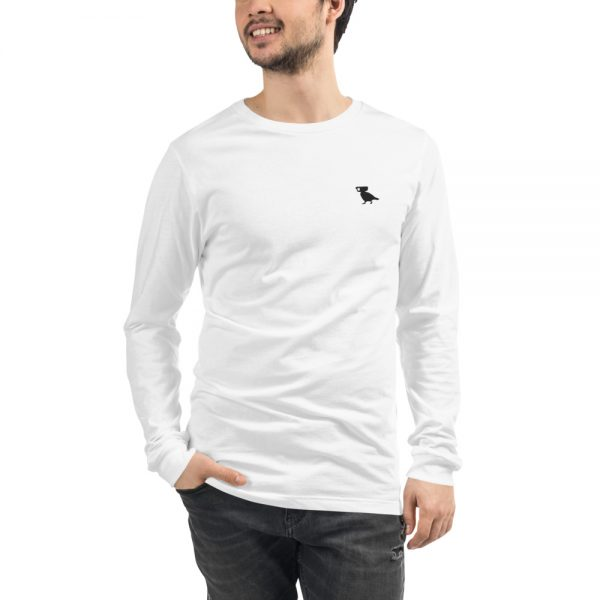 Long Sleeve Pigeon Tee Embroidered Logo White
