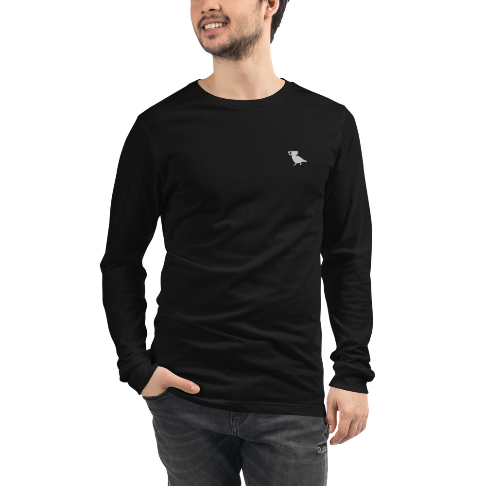 pigeon logo embroidered black long sleeve tee